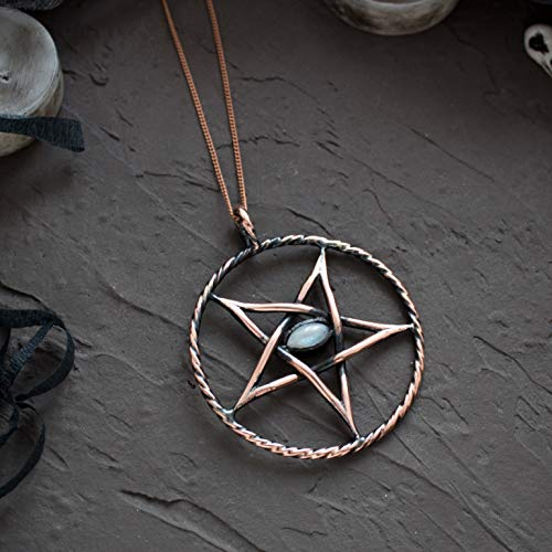 Stone Pendant Inverted (Inverted pentagram necklace Gothic pendant witchcraft gift for witch satanic sign Pentacle jewelry for man woman unisex Baphomet Copper Wiccan Occult Lucifer Halloween Boyfriend Husband present)