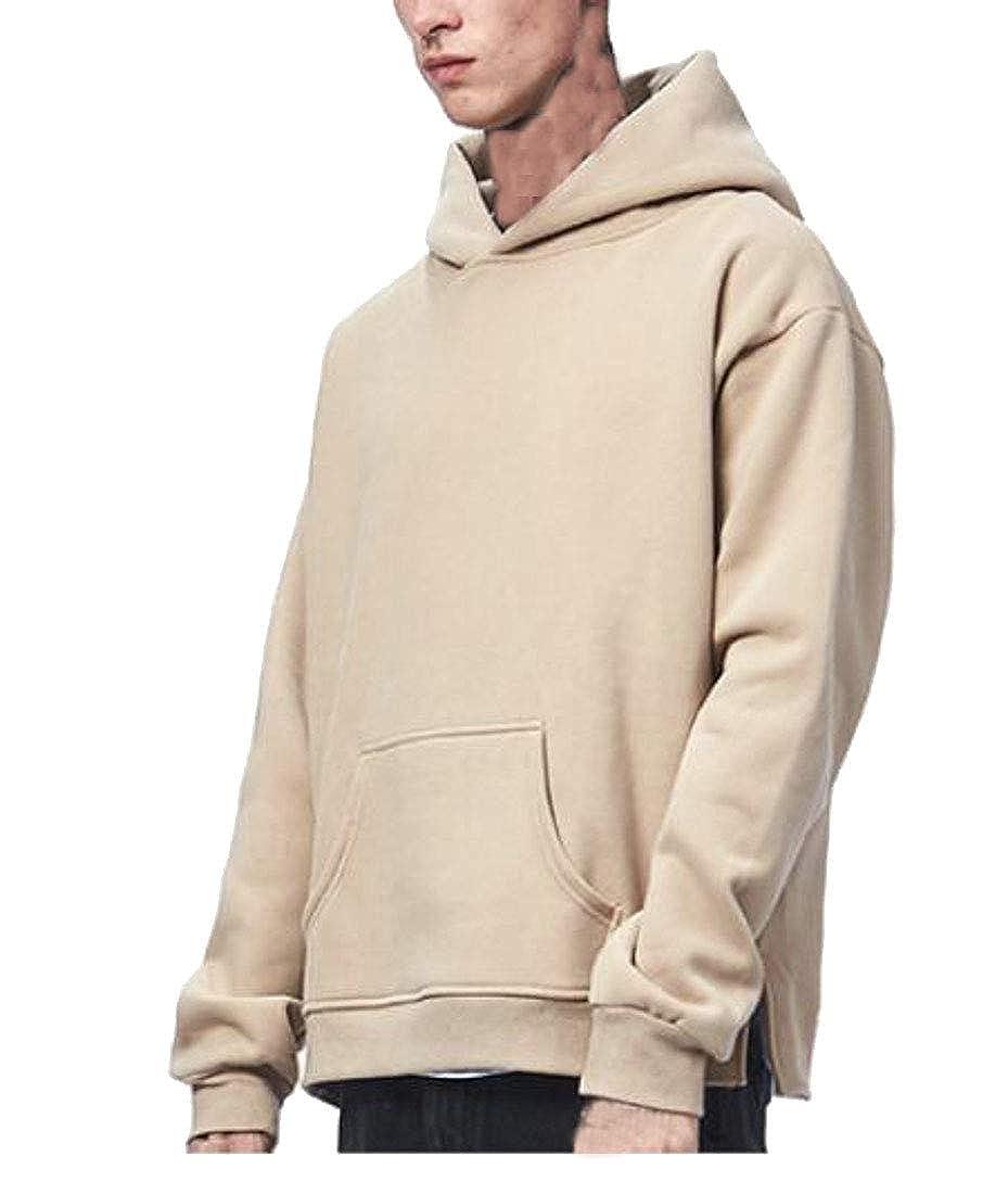 Hajotrawa Men Pure Color Loose Pullover Fleece Hoodie Sweatshirts