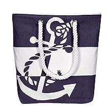 Peach Couture 100% Cotton Chic Summer Nautical Print Canvas Bags Beach Totes