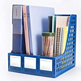 Leven Sturdy Magazine File Holder/Desk Organizer for Office Organization and Storage with 3 Vertical Compartments