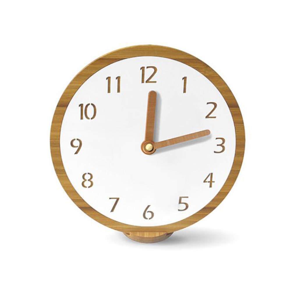 GCCLCF Desktop Massivholzuhr Holzuhr Arbeitsplatzplatte Moderne minimalistische Uhr Tisch Wand Karten Home Quarz Uhr Mute