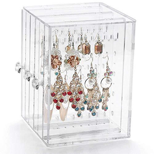 YEEGG Acrylic Jewelry Storage Box,Earring Display Stand Earring Organizer Holder Hanger Earring Studs with 3 Vertical Drawer(Transparent)