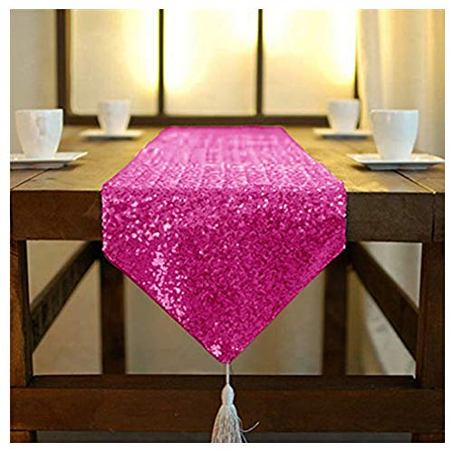 ShinyBeauty 12x72 Inch Hot Pink Sequin Dresser Scarves or Table Runner with Tassel for Wedding, Party or Home -