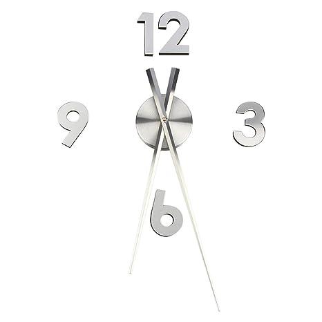 Reloj de pared Yosoo, ultrasilencioso, diseño en 3D, montaje con adhesivo, uso