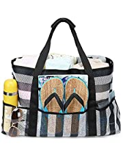 BLUBOON Large Mesh Beach Bag – Mesh Beach Tote Bag with Pockets - Beach Bags and Totes for Women with Zipper, Large Elastic Pockets for Beach Accessories