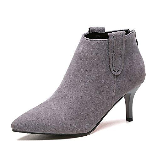 autunno casual stivali scarpa partito Hsxz per stivaletti moda stivaletti in donna punta inverno gattino sera Grey tacco nero stivali a da wISafSq