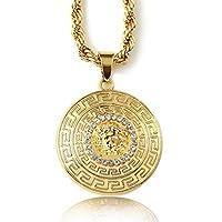 """Halukakah Collar colgante """"MEDUSA"""" 3D real estampado en oro de 18 k para hombres con cadena de cuerda GRATIS de 30 """"de espesor 5 mm"""