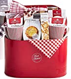 Easter Gift Basket for Her or Him   Fresh Baked Deluxe (Red)   Metal Tin Coffee, Tea, Cookies, Pastries