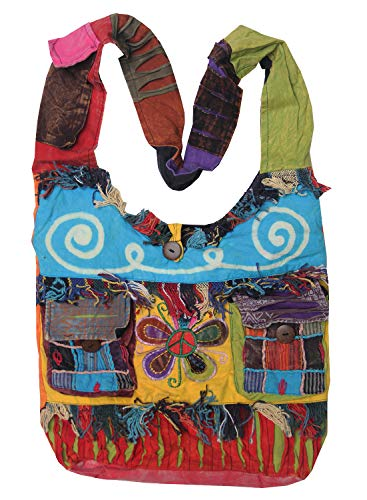 Boho Bohemian Recycled Ripped Razor Cut Patch Peace Om Signs Sling Crossbody Monk Bag Purse Nepal
