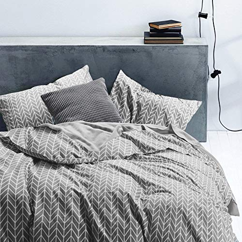 (Cozyholy - 3 Pieces Grey Chevron Cotton Duvet Cover Set High Thread Count Comforter Quilt Cover with Zigzag Geometric Pattern Printed, Zipper Closure Corner Ties, Queen)