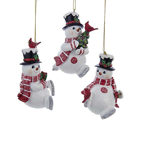 Kurt Adler 4.25-Inch Resin Snowman with Cardinal Ornament Set of 3