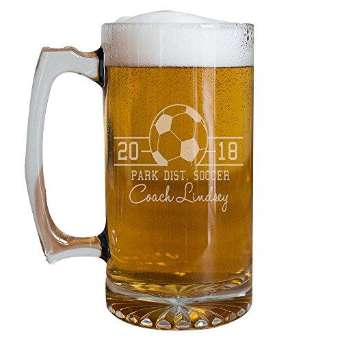 GiftsForYouNow Personalized Coach Sport Glass Mug, Soccer