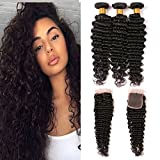 lace closure deep curly grade 8a long wet and wavy human hair weave bundles with closure top quality Swiss lace 130% density tangle free deep wave Peruvian hair bundles for woman 1b 20 22 24+16 inch