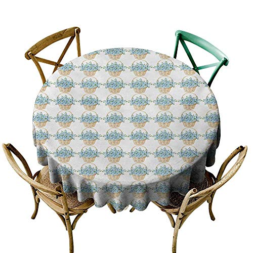 Chambray Blue Basket - longbuyer Round Tablecloth Ivory and Blue,Wicker Basket Design with Spring Season Blooming Flowers,Pale Blue Ivory and Green D70,for Party