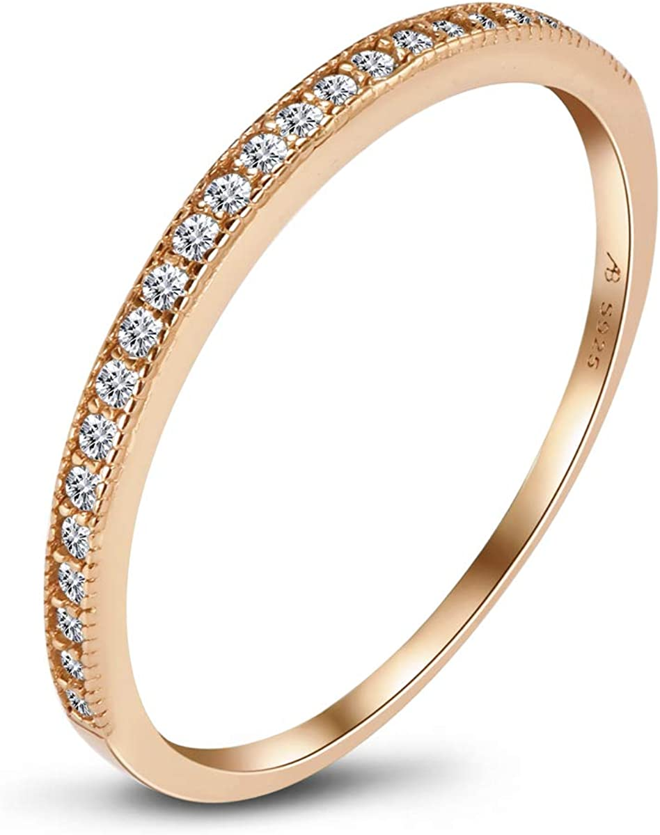 AINUOSHI 2mm CZ Wedding Band for Women 925 Sterling Silver Half Eternity Stackable Ring (3 Colors)