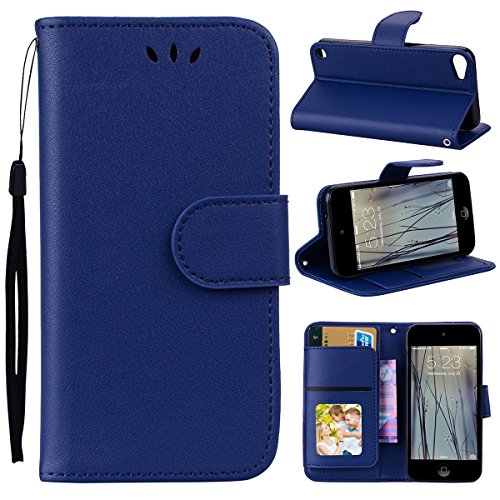 (Scheam iPod Touch 5 6 Wallet Case, Stylish Slim PU Leather Boys Stand and Card Holders Wallet Phone Cover Leather Covers for Protective Case for iPod Touch 5 6 -Dark Blue)