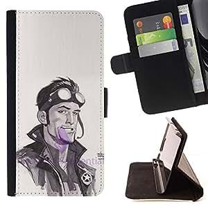 Momo Phone Case / Flip Funda de Cuero Case Cover - Biker Aquarelle Acteur Man - Samsung Galaxy Core Prime