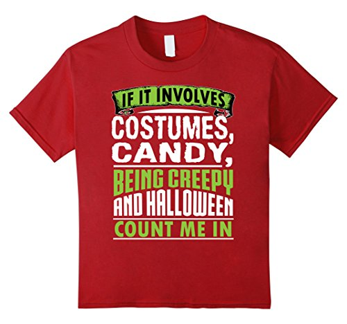 [Kids Funny Cute Costumes Candy Halloween Count Me In Shirt 12 Cranberry] (Candy Crush Halloween Costume)