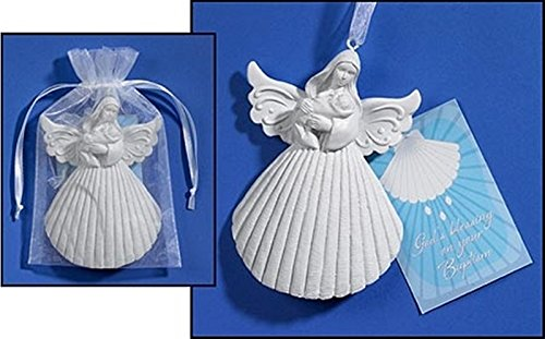 White Resin Baptism Shell 4 Inch Angel Figurine with Holy Prayer Card Gift Set
