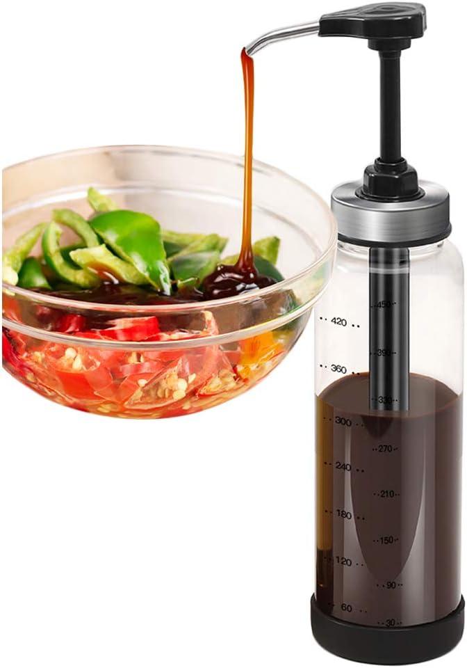 DUU Sauce Syrup Dispenser Bottle Glass Olive Oil Dispenser with Wide Neck Press Pump Head for Homemade Hot Sauce Ketchup Salad Dressing, Barbeque Sauce 17 OZ