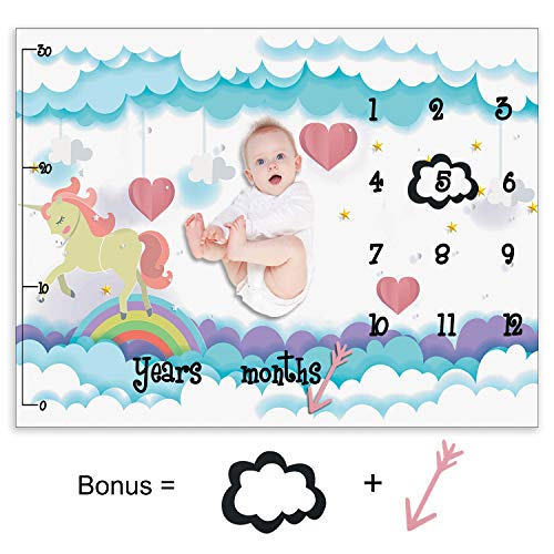 "- Baby Milestone Blanket Monthly Blankets for Newborns with Soft Flannel Photo Blanket with Baby Photo Props - 51"" x 30"" Size (Pink Horse)"