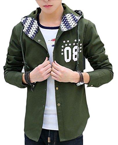 Fit Slim Verde Mens Militare Outwear Junior Generici Bomber Cotone Cappuccio Giacca Con 5UAAqEnHw