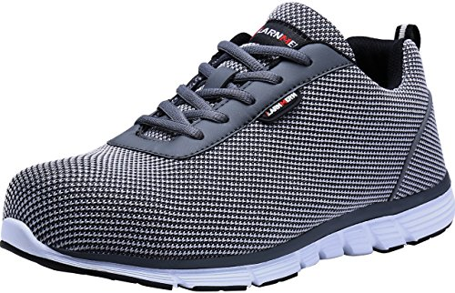 MODYF Steel Toe Work Safety Shoes Reflective Casual Breathable Outdoor Footwear (11, Flyknit Gray)