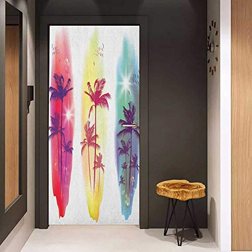 - Onefzc Door Wallpaper Murals Tropical Palm Trees Birds Seagulls Pattern Silhouette Surfboards Seascape WallStickers W30 x H80 Purple Fuchsia Pale Yellow