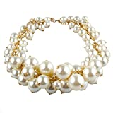 MeliMe Womens Multi-Strand Faux Pearl Cluster Necklace Gold & White 04 Deal (Small Image)