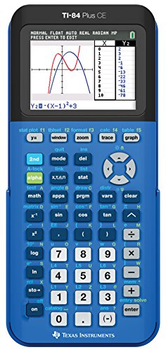 - Texas Instruments 84PLCE/TBL/1L1/X TI-84 Plus CE Graphing Calculator, Bionic Blue