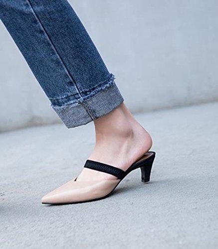 pantofole suggerimenti Moda 38 Sandali calzature alti e Baotou AJUNR Donna tacchi Alla nudo Da 6cm XnSqz