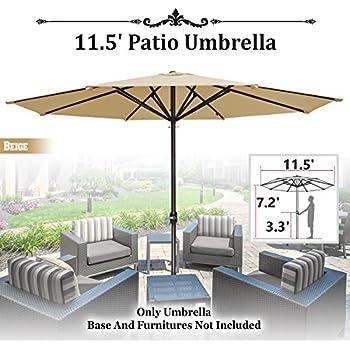 81a32a20e772 Amazon.com : 13ft Sycamore Wood Centre Pole Beige Umbrella Outdoor ...