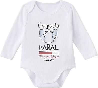 SUPERMOLON Body bebé manga larga Cargando pañal Blanco algodón ...