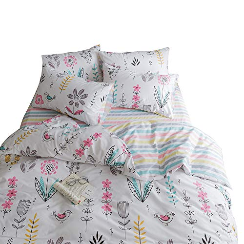 BuLuTu Floral Bird Print Pattern Girls Duvet Cover Twin White Premium Cotton Nature Blossom Colorful Reversible Kids Bedroom Comforter Cover Bedding Sets Zipper for Teen Toddler,NO Comforter by BuLuTu