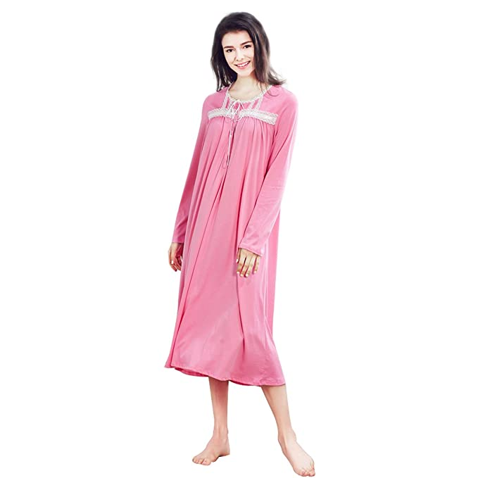 Dorekim Camisones Ropa de Dormir para Mujer 100% Algodón Manga Larga DK2509 (S)