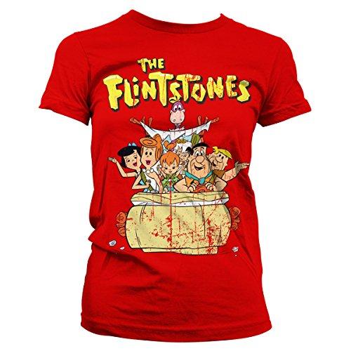 Flintstones Rojo Oficialmente Mujer Licenciado Camiseta The U76qPw
