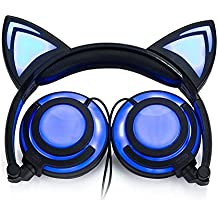 Eoncore Foldable LED Lights Cat Ear Headphones for Kids Teens USB Rechargeable 3.5mm Stereo On-Ear Music Gaming Earphones Headband Headsets (Black)