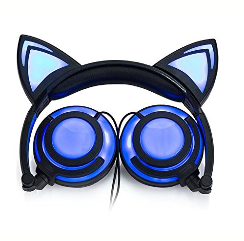 Eoncore Foldable LED Lights Cat Ear Headphones for Kids Teens USB Rechargeable 3.5mm Stereo On-Ear Music Gaming Earphones Headband Headsets (Black)