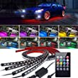 4Pcs Car LED Neon Undercar Glow Lights Underglow Atmosphere Decorative Bar Lights kit Strip,Led Car Light Underglow Kit RGB Multicolor Neon Underbody 8 Color With Sound Active and Wireless Remote …