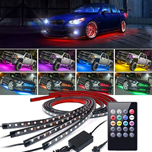 4Pcs Car LED Neon Undercar Glow Lights Underglow Atmosphere Decorative Bar Lights kit Strip,Led Car Light Underglow Kit RGB Multicolor Neon Underbody 8 Color With Sound Active and Wireless Remote ()