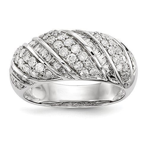 ICE CARATS 14k White Gold Diamond Band Ring Size 6.75 Fine Jewelry Gift Set For Women Heart by ICE CARATS