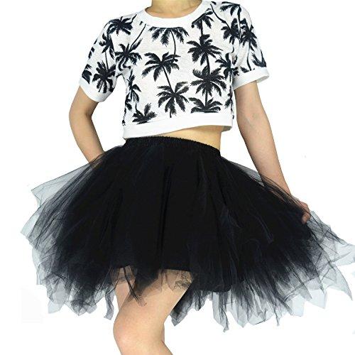 YSJERA Women's Tutu Tulle Mini A-Line Petticoat Prom Party Cosplay Skirt Fun Skirts (XL, Black)]()