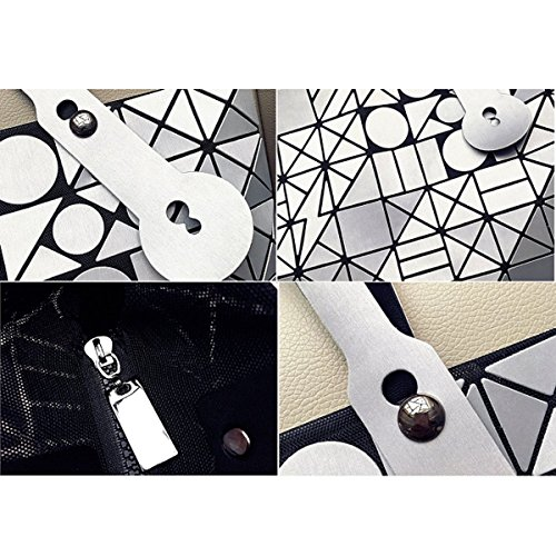 cartera negro Diseo Holograma GreyGreen 40 bolso Splitter Tote 2018Mujer geomtrico 40 Mode Talla Rhombus 1CM qzfgpg0