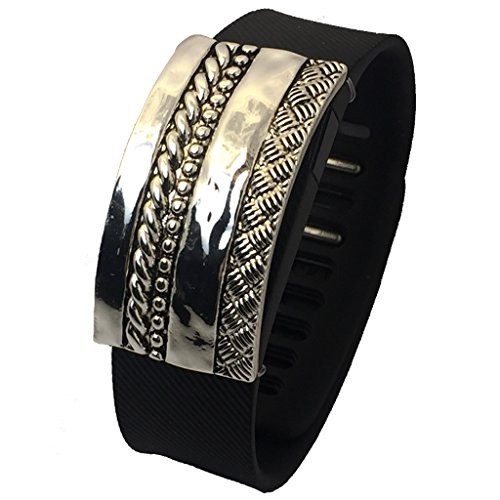 Fitbit Alta, Fitbit Charge, Fitbit Charge HR, Fitbit Flex, Jawbone Up Jewelry to Accessorize Your Fitness Tracker - Etched Ornate Braided Weaving BRITAIN Bracelet Accessory