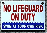 1 Pc Outstanding Popular No Lifeguard Duty Sign Plastic Printed Risk Beach Outdoor Declare Size 8