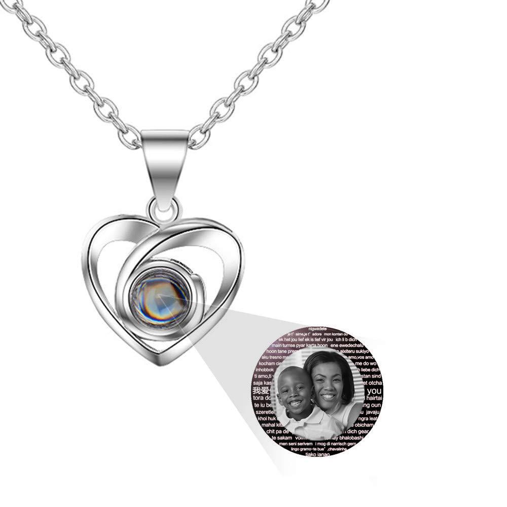 Brilliant sun Projection 100 Languages I Love You Heart Charm Pendant Necklace