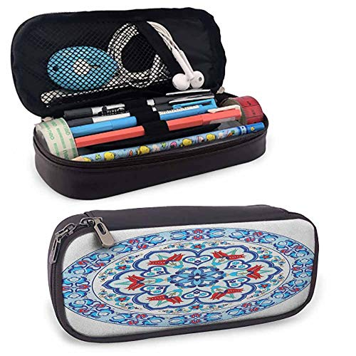 """Antique Retro Leather Pencil Pouch Ottoman Turkish Style Art with Tulip Period Ceramic Floral Elements European Print Small Cute Stand-Up Waterproof Dust-Free 8""""x3.5'x1.5' Multicolor from lacencn"""