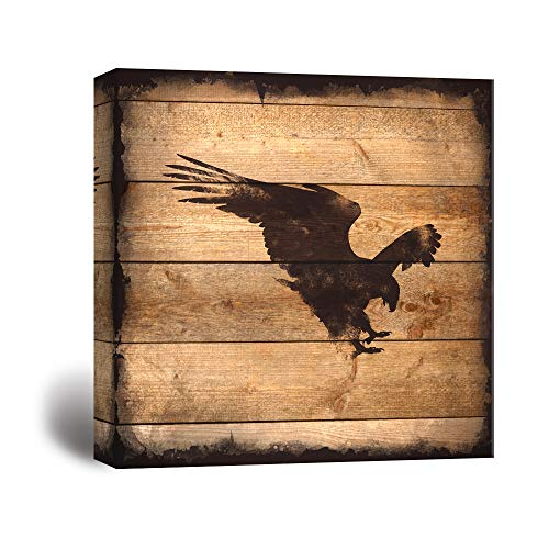 Square Eagle Silhouette on Rustic Wood Board Texture Background