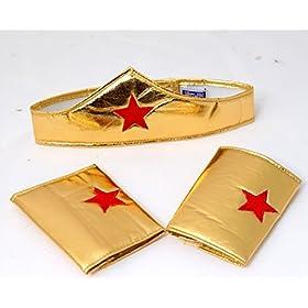 - 51a4sYSKNSL - Making Believe Girls Gold Wonderful Superhero Costume Cuffs and Headband Set