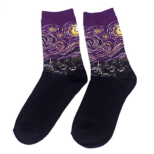ESHOO Womens Cotton Socks, Famous Painting Art Printed Funny Casual Socks, Special Gift for Ladies